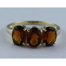 Solid Gold Madeira Citrine Three Stone Ring GSR410