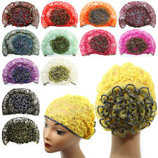 Women Lace Beanie Hat Bun Cap Flower Mesh Turban Skull Cap Head Wrap Bonnet