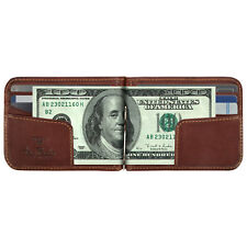 Tony Perotti Italian Leather Bifold Spring Tension Money Clip Wallet