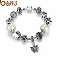 Bamoer European Silver Flowers Charms Bracelets With Murano Beads DIY For Women