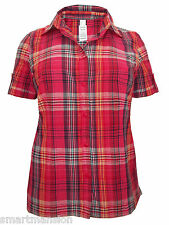 New Ladies Red Checked Pure Cotton Shirt Blouse Tunic Top Dress Plus Size 18- 26