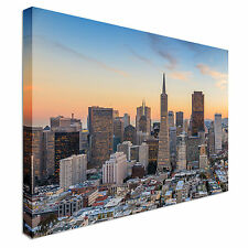 Business Center In San Fran Sunset Canvas Wall Art prints high quality