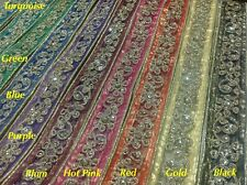 32mm  Fancy Gold Sequin Indian Lace Trim Mash Ribbon Craft Sari Border-1Yard