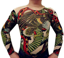 Tattoo Shirt Mesh Sleeves Temorary Arm Body Art  Sport T-Shirt Hawk and Snake