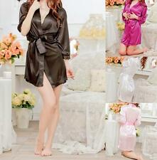 Women Sexy Satin Bath Robe Gown Babydoll Lingerie Short Dress Sleepwear G-string