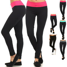 Women Solid Fold Over Waist Band Skinny Tight Legs Workout Fitness Yoga Pants