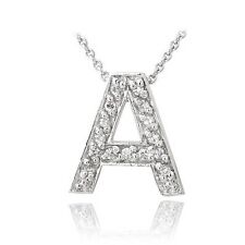 Icz Stonez Sterling Silver Cubic Zirconia Block Letter Initial Necklace. Deliver