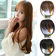 Pretty Girl's Fashion Womens Straight Thin Hair Extension Fringe Bangs With Clip