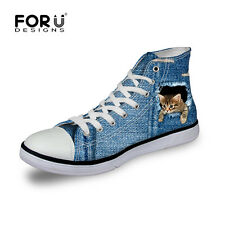 Animal Blue Cat Womens Girls Lace-up High Top Sport Sneakers Casual Canvas Shoes