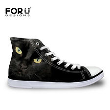 Cool Black Cat Womens Female Lace-up High Top Sport Sneakers Casual Canvas Shoes