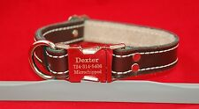 """ENGRAVED METAL BUCKLE LEATHER DOG STITCHED COLLAR 1 INCH 1"""" NAME INFO 5 COLORS"""