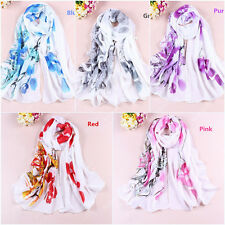 New Women Chiffon Silk Flower Long Soft Neck Scarf Shawl Wrap Scarves Stole W072