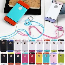 Beautiful Neck Strap Rope Smooth TPU Rubber+PC Case Cover For iPhone 6 6S Plus
