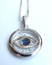 evil eye luck 925 sterling silver glass charm  blue sapphire necklace pendant