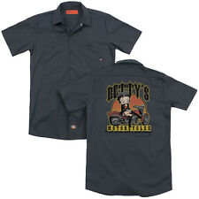 BETTY BOOP BETTY'S MOTORCYCLES Mens Dickies Graphic Work Shirt SM-3XL