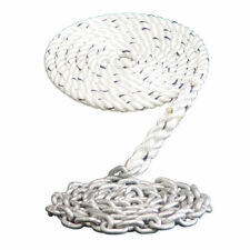 "WINDLASS ANCHOR RODE- 1/2"" 3 STRAND NYLON SPLICED TO 15' - 1/4"" GALVANIZED CHAIN"