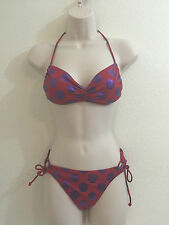 Victorias Secret 2 Piece Bikini Swimsuit Metallic Polka Dot Top Sz S Bottoms Med