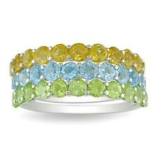 Miadora Stackable Sterling Silver Peridot, Citrine, and Blue Topaz 3-piece Ring