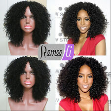 """Hot 12""""-24"""" Afro Curly 100% Indian Remy Human Hair Lace Front Wig Full Lace Wigs"""