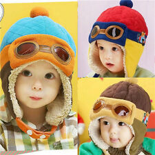 Girl Boy Kids Pilot Aviator Cap Winter Baby Earflap Toddler Warm Soft Beanie Hat