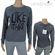 Just Add Sugar Drama Tee Shirt Womens Long Sleeve Top I Woke Up Like This Grey