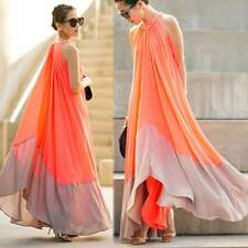 Women Loose Halter Sleeveless Patchwork Irregular Hem Chiffon A-Line Maxi Dress