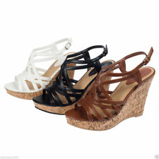 Designer womens strappy wedges heels sandals dress platform casual wedding shoes