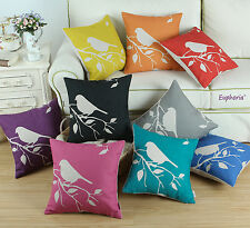 Ecru Bird Tree Print Cushion Covers Pillows Shells Home Car Sofa Decor 45 X 45cm