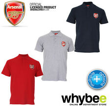 OFFICIAL ARSENAL FC ADULT FOOTBALL CREST CLASSIC POLO SHIRT in GREY, NAVY OR RED