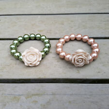 Pearl Style Bead & Rose Stretch Bracelet In Pastel Pink Or Green