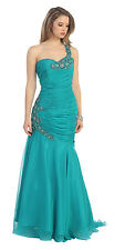 Elegant One Shoulder Long Ruched Beautiful Plus Sizes Formal Prom Dress