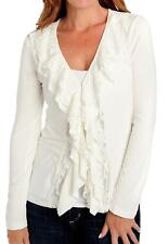 NEW Kate & Mallory® Stretch Knit Long Sleeved Lace Ruffle Front Cardigan S, M