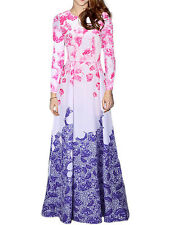Plus Size Long Sleeve Chiffon Flower Print Maxi Dress