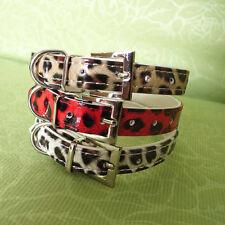 PU Leather Leopard Pattern Dog Collar Red White Golden XS S M 3 Colors