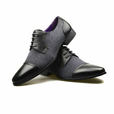 Mens Leather Dress Shoes Lace Up Black Faux Brogue Oxford Casual Office Formal