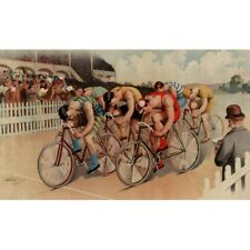 Bicycle Race Scene 1895 Crossing the Finish Line Vintage-Style Poster