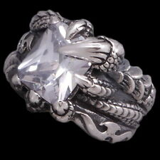 HUGE WHITE TOPAZ DRAGON CROCODILE CLAW 925 STERLING SILVER MENS WOMENS RING