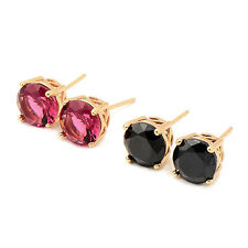 Fashion jewellery womens 18K Gold Plated Round Crystal Stud Earrings earings
