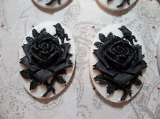 Blooming Black Rose Flower on White Cameo - 25 X 18mm Resin Cabochons - Qty 6