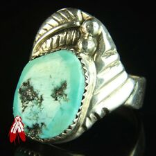 Beautiful blue turquoise sterling silver ring 92.5 vintage Navajo pawn sz 10.5