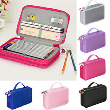 35 Slots 2 Layers Large Pencil Holder Pen Pouch Stationary Box Makeup Case Bag