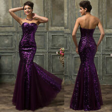 Mermaid Sequins Long Formal Bridesmaid Wedding Party Prom Evening Gown Dresses