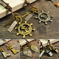 Men Fashion Leather Rope Anchor Leaf Shoe Key Feather Ring Pendant Cord Necklace
