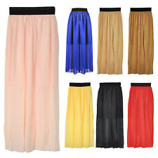New Ladies Chiffon Pleated Elastic Waist Skirt Long Dress -Black WD