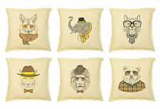 Vietsbay Animal Retro Style Printed Khaki Decorative Pillows Cover Case VPLC_02