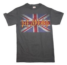 Def Leppard UK Flag Logo Hard Rock Metal Music Vintage-Style Men's Gray T-Shirt