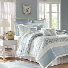 Soft 100% cotton Blue Paisley Lace embroidery Comforter set 9 pc Queen Cal King