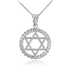 14k White Gold Jewish Star of David in Circle Rope Pendant Necklace