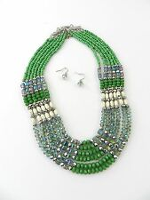 Multi-strand, beaded, necklace and earring set