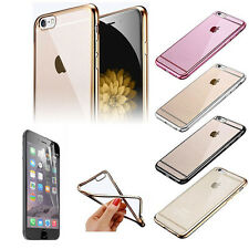 Plating Gilded TPU Soft Silicone Case Cover+Clear Screen Protector for Iphone SE